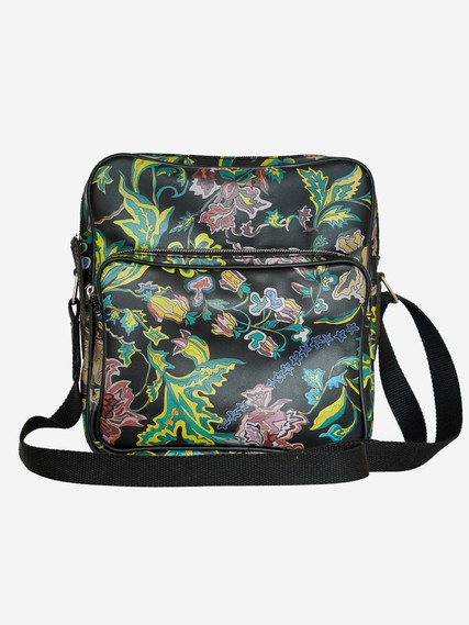 Flowers-pattern-black-Messanger-bag-01