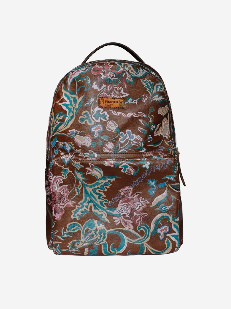Flowers pattern brown City backpack in natural leather | franko.ua