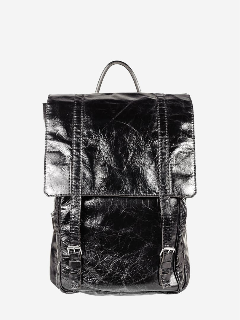 Tom black backpack in natural leather | franko.ua
