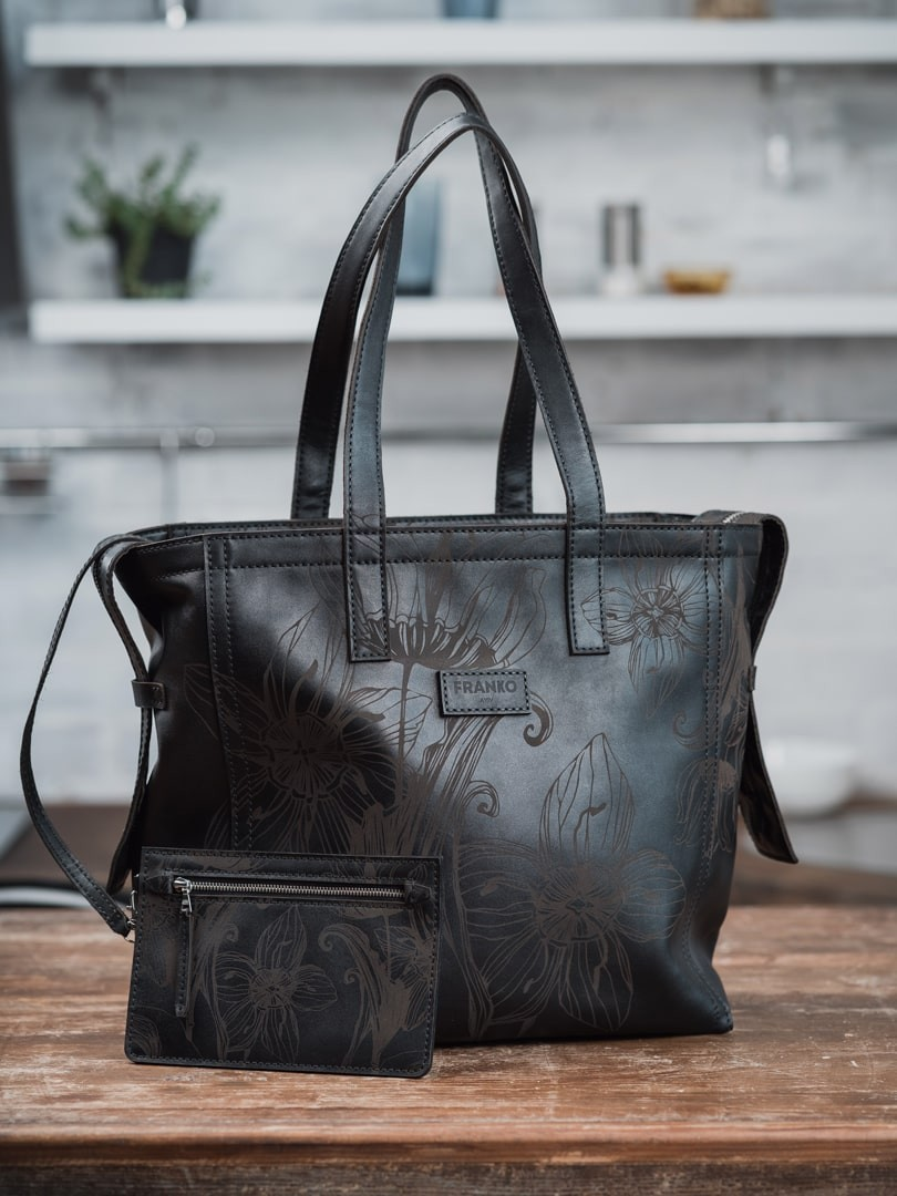 Nata flowers black Zippy tote in natural leather | franko.ua
