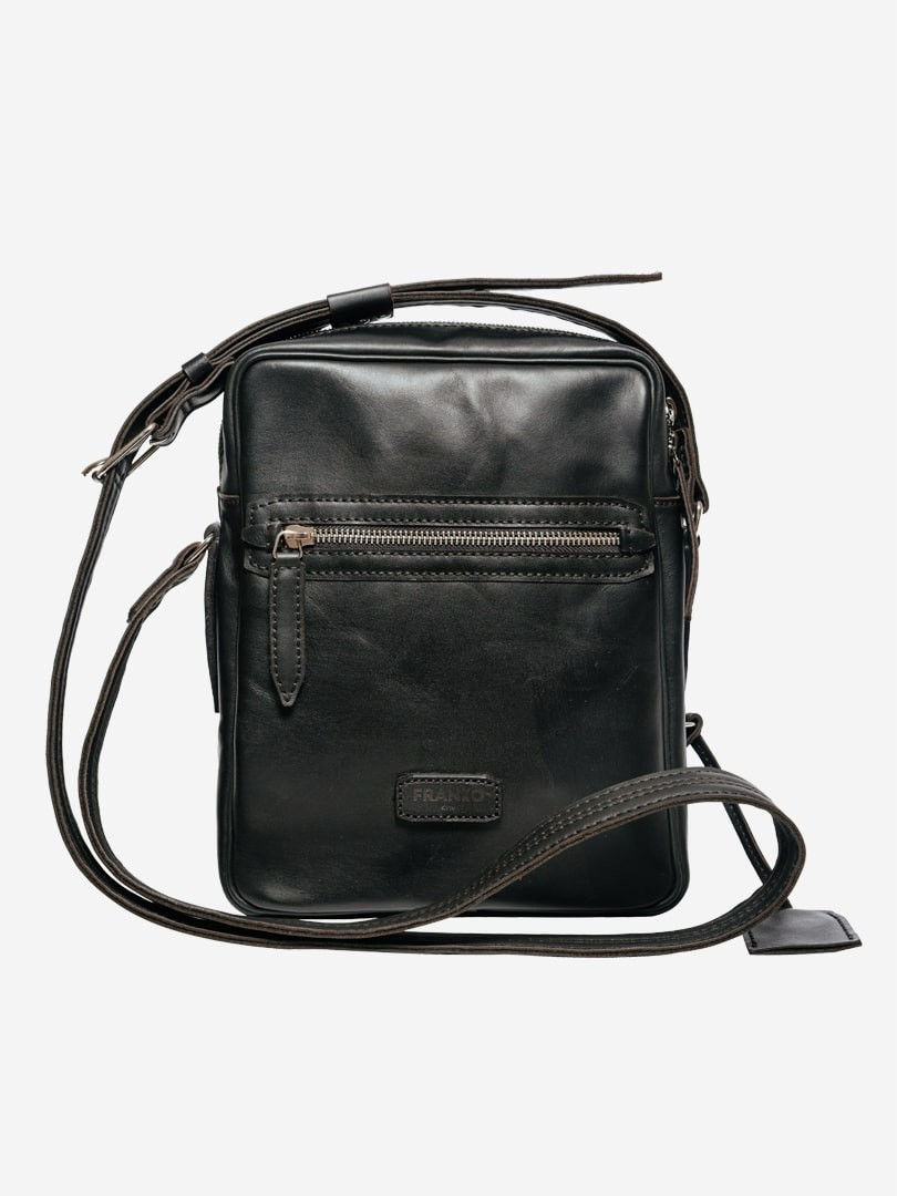 Franko black Messenger bag in natural leather | franko.ua