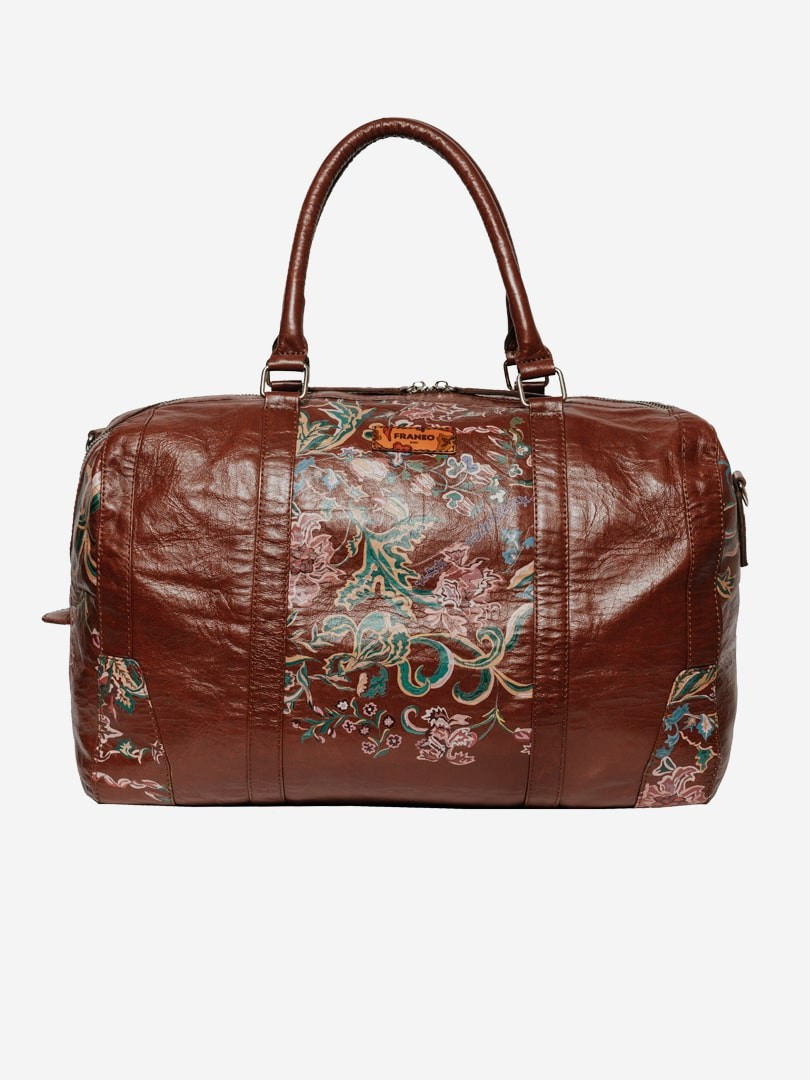 Flowers pattern brown Road bag in natural leather | franko.ua