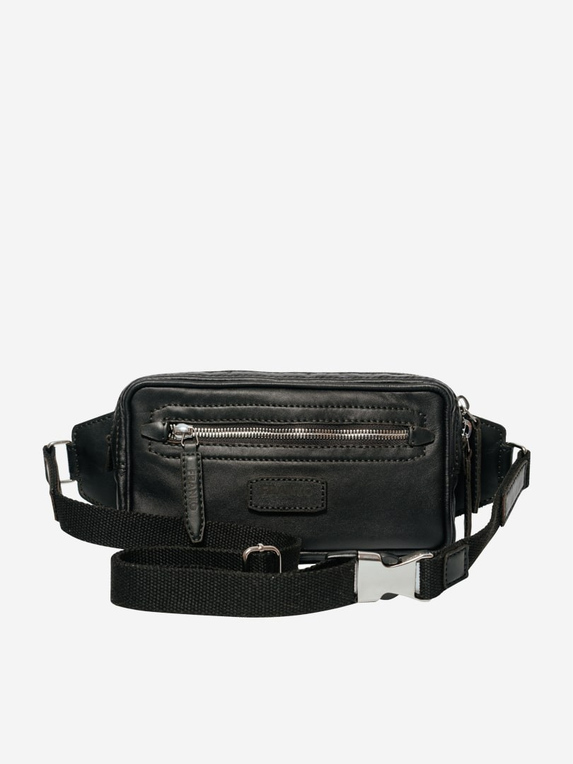 Franko black Belt bag in natural leather | franko.ua