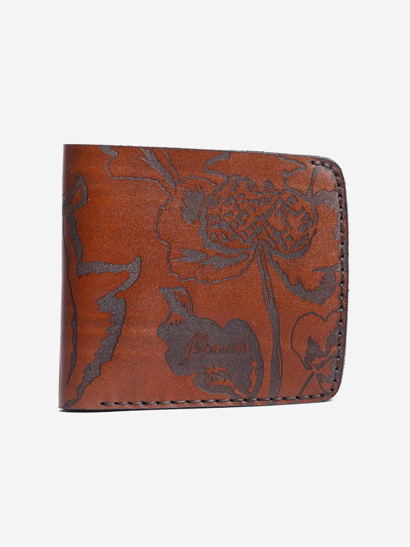 Kozak flowers brown Big wallet in natural leather | franko.ua