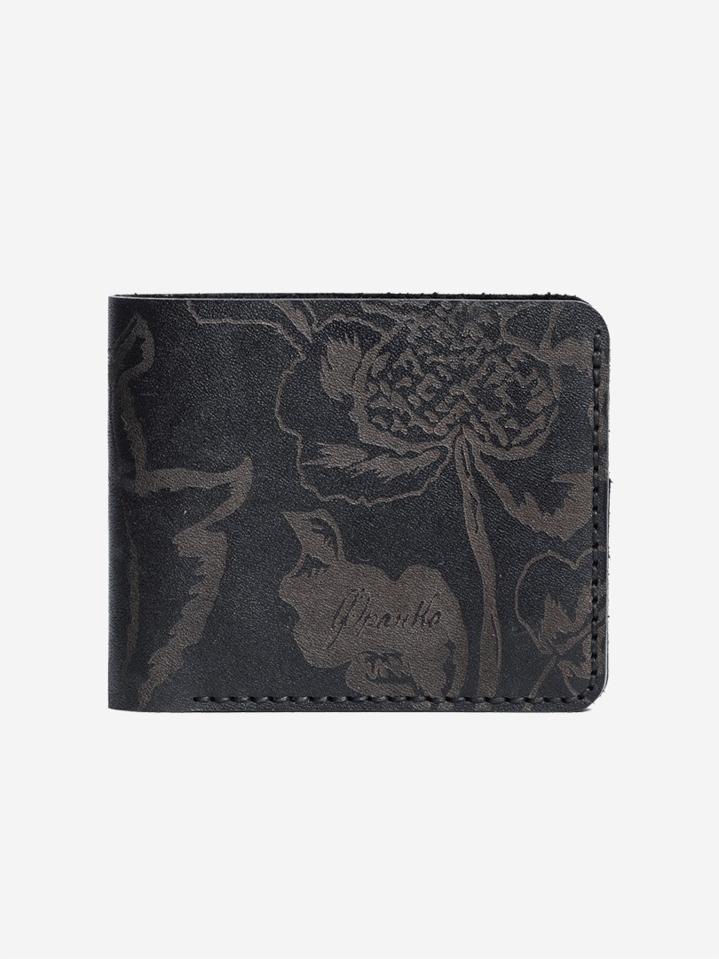 Kozak flowers black Small wallet in natural leather | franko.ua