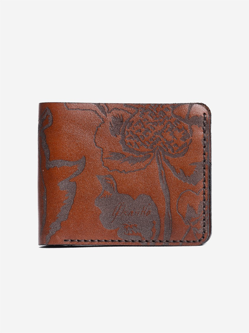 Kozak flowers brown Small wallet in natural leather | franko.ua