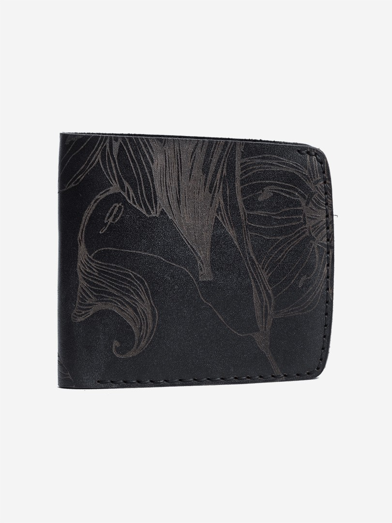 Nata flowers black Big wallet in natural leather | franko.ua