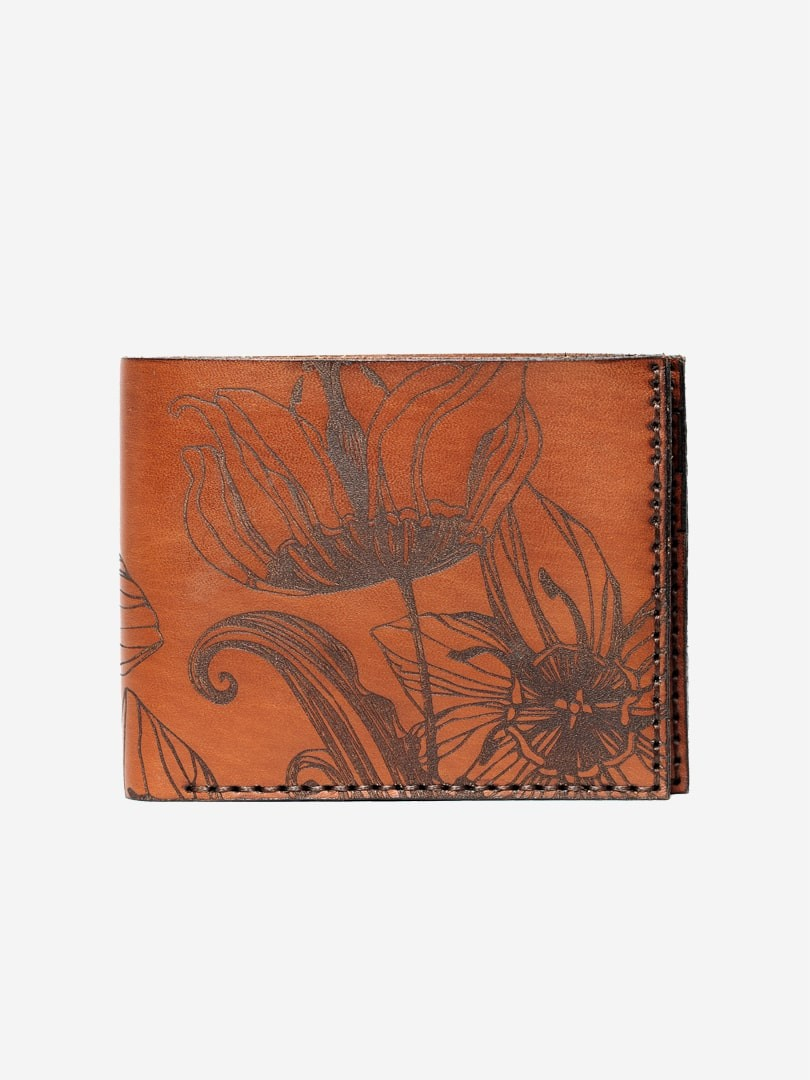 Nata flowers brown Medium wallet in natural leather | franko.ua