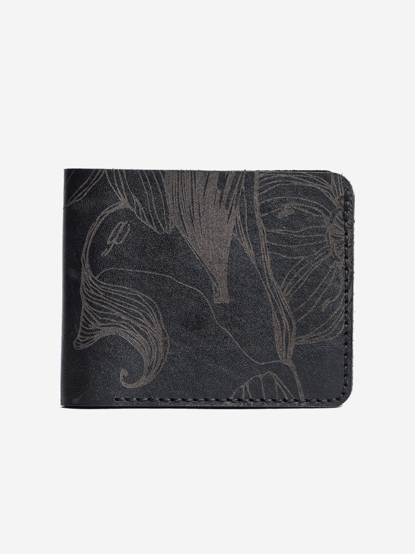 Nata flowers black Small wallet in natural leather | franko.ua