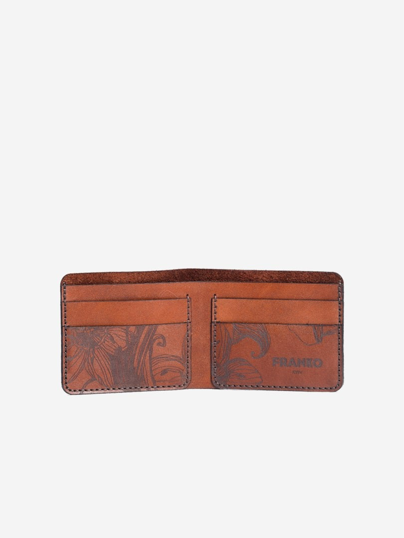 Nata flowers brown Small wallet in natural leather | franko.ua