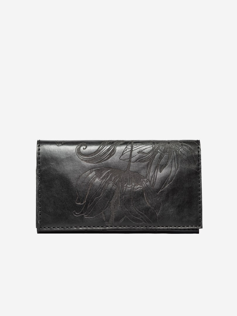 Nata flowers black Big Zippy wallet in natural leather with zipper | franko.ua