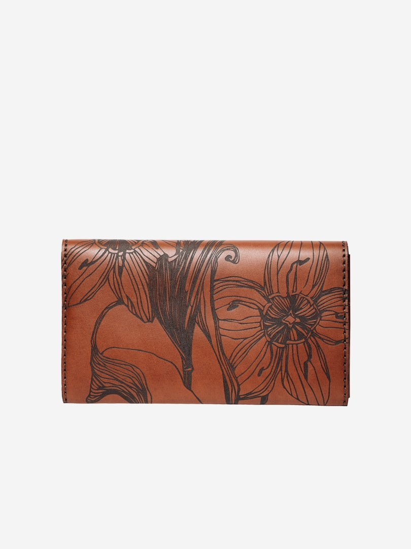 Nata flowers brown Big Zippy wallet in natural leather with zipper | franko.ua