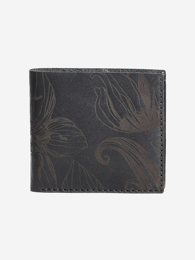 Nata flowers black Medium Coin wallet in natural leather | franko.ua