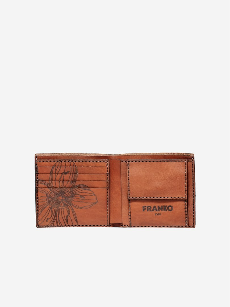 Nata flowers brown Medium Coin wallet in natural leather | franko.ua