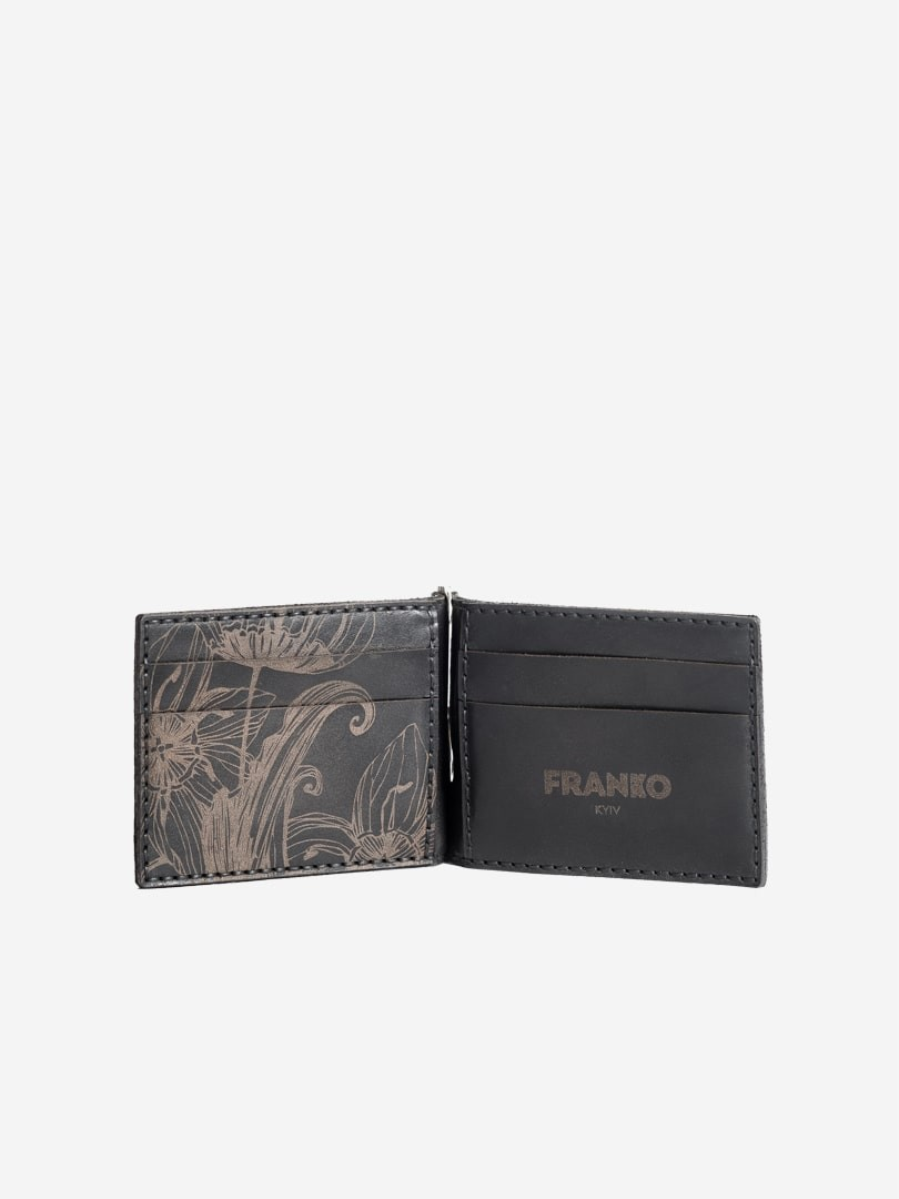 Nata flowers black Small Money clip wallet in natural leather | franko.ua