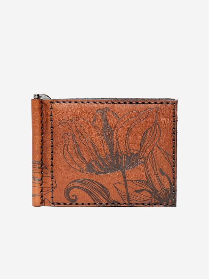 Nata flowers brown Money Clip wallet in natural leathert with money clip | franko.ua