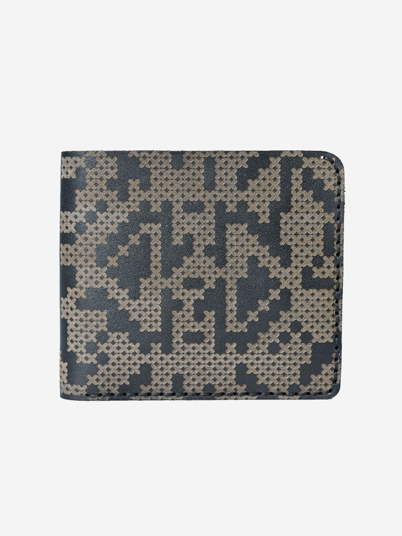 Pixel black Medium wallet in natural leather | franko.ua
