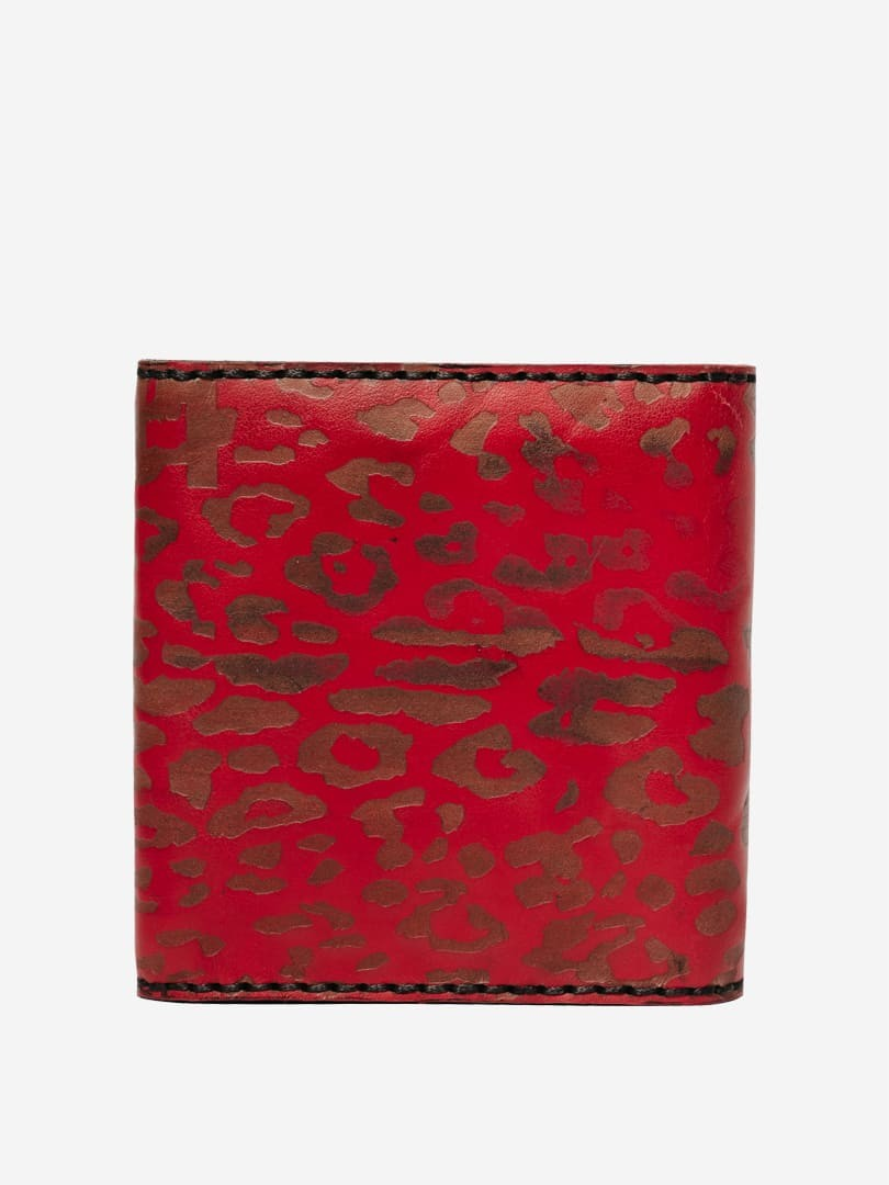 Takeshi leopard red wallet in natural leather | franko.ua