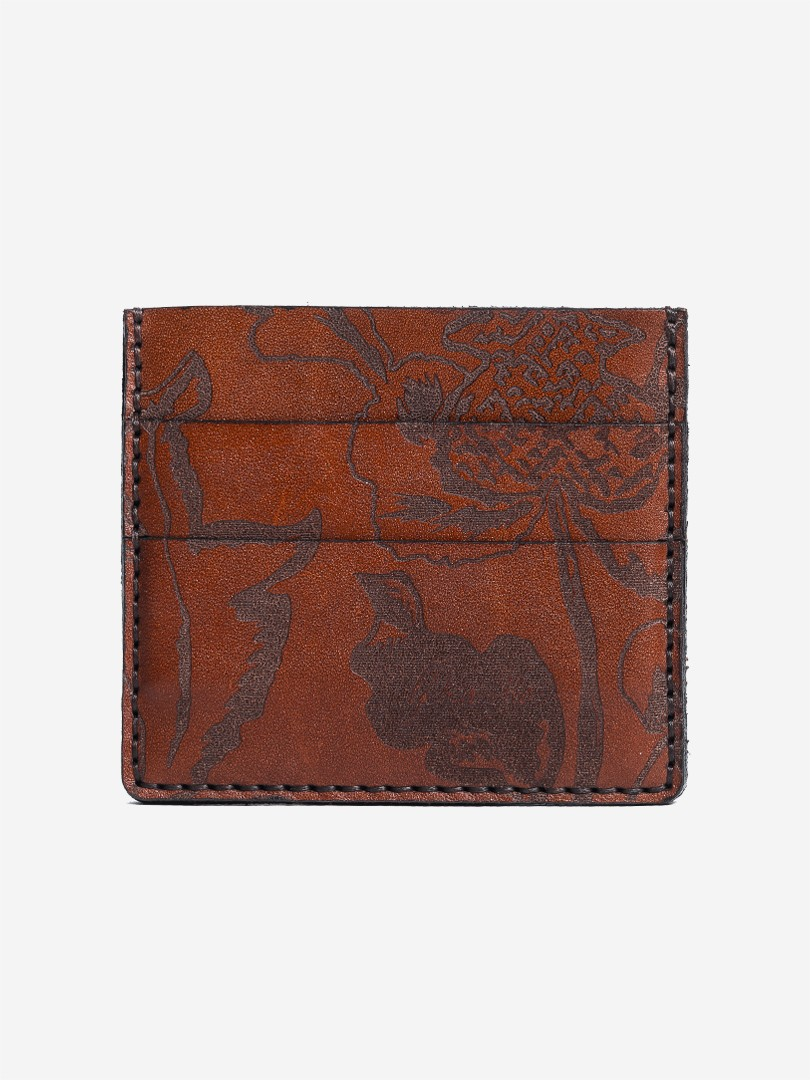 Kozak flowers brown Small cardholder in natural leather | franko.ua