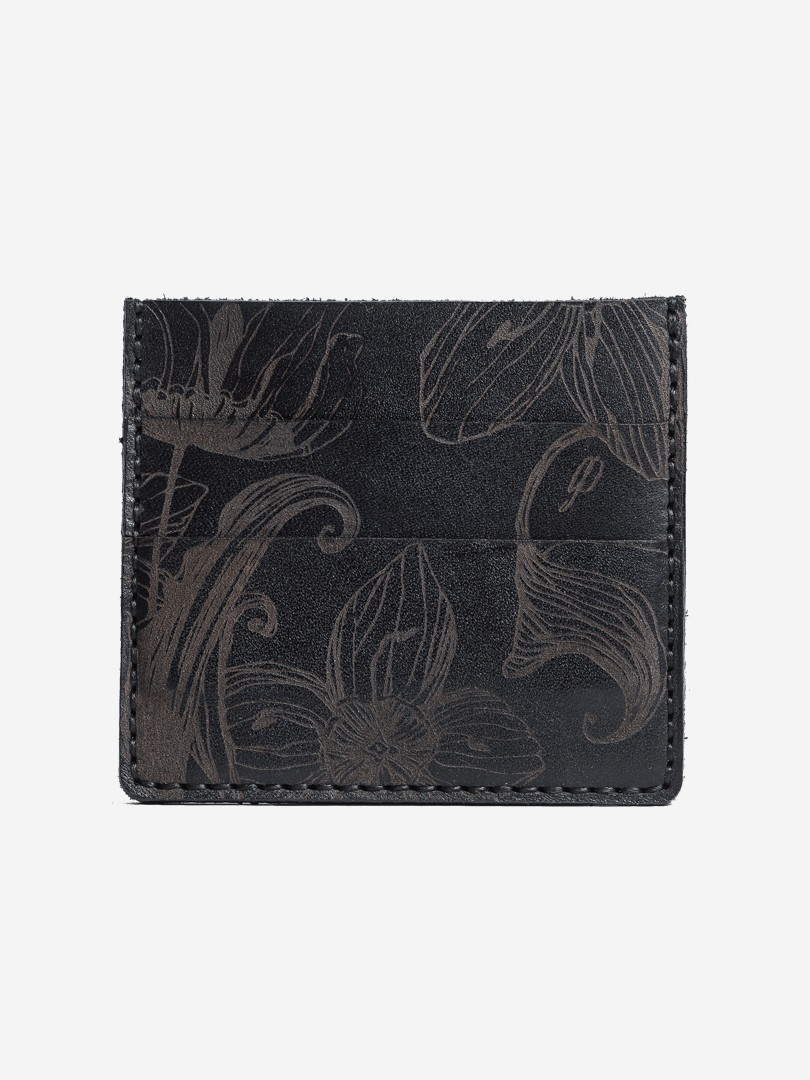 Nata flowers black Small cardholder in natural leather | franko.ua