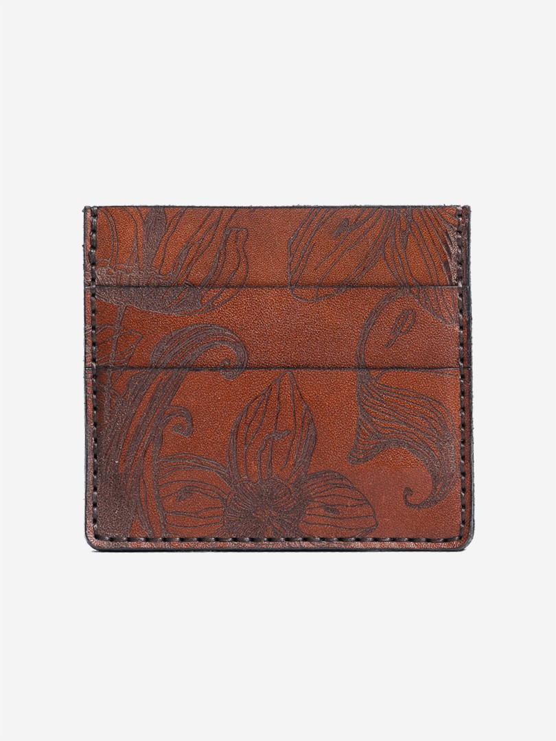 Nata flowers brown Small cardholder in natural leather | franko.ua