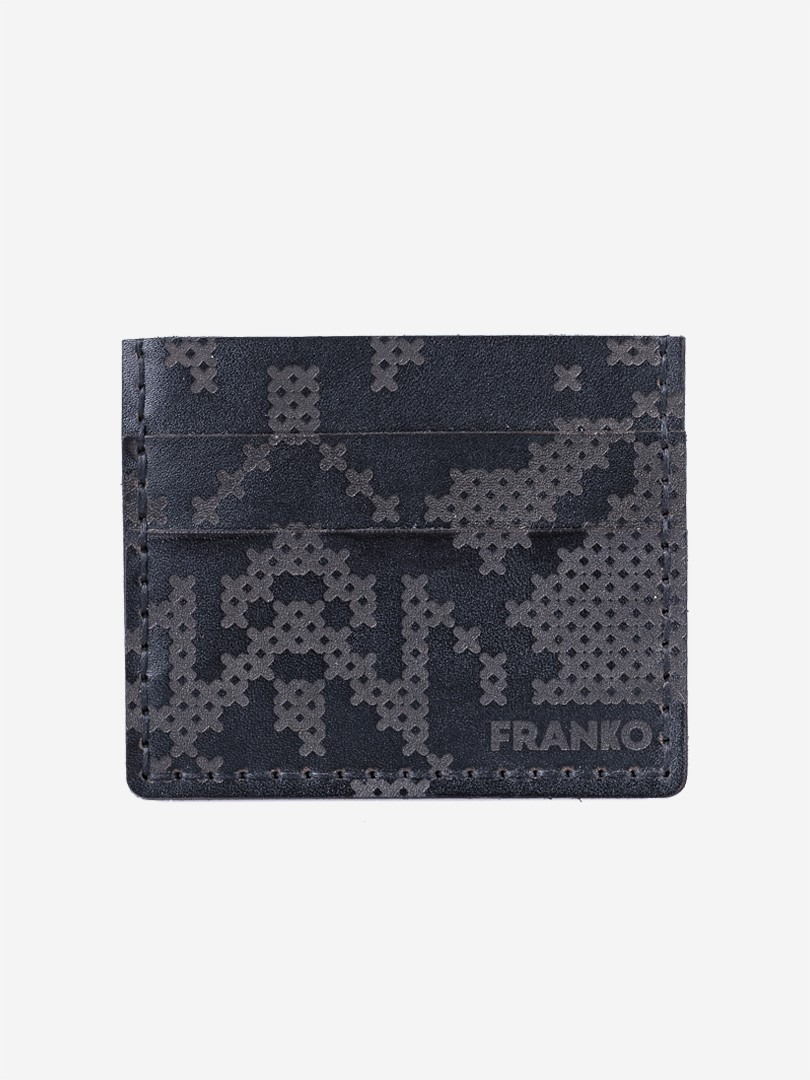 Pixel black Small cardholder in natural leather | franko.ua