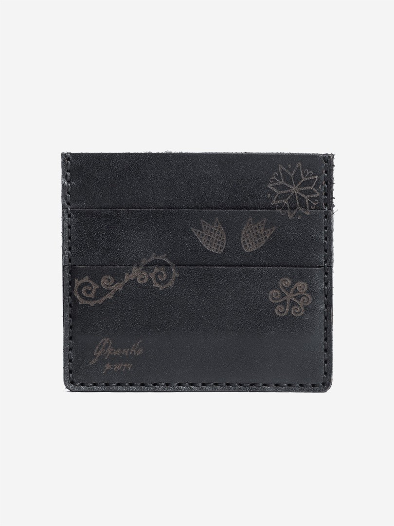 Trypillya black Small cardholder in natural leather | franko.ua