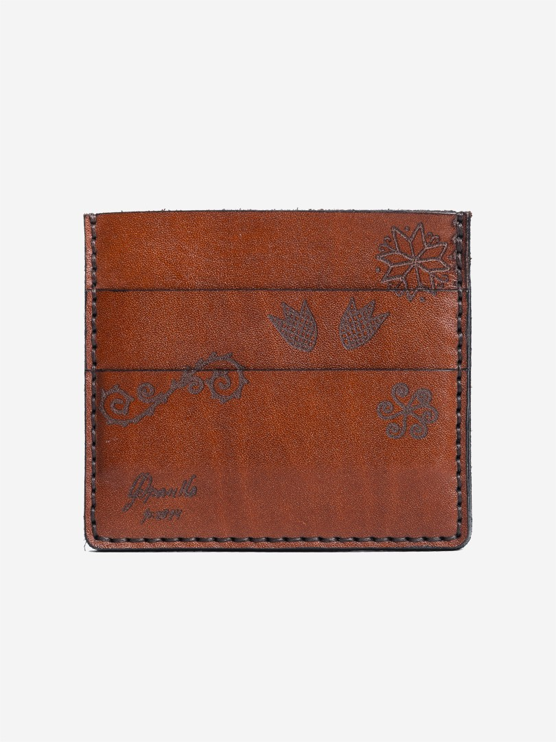 Trypillya brown Smal cardholder in natural leather | franko.ua