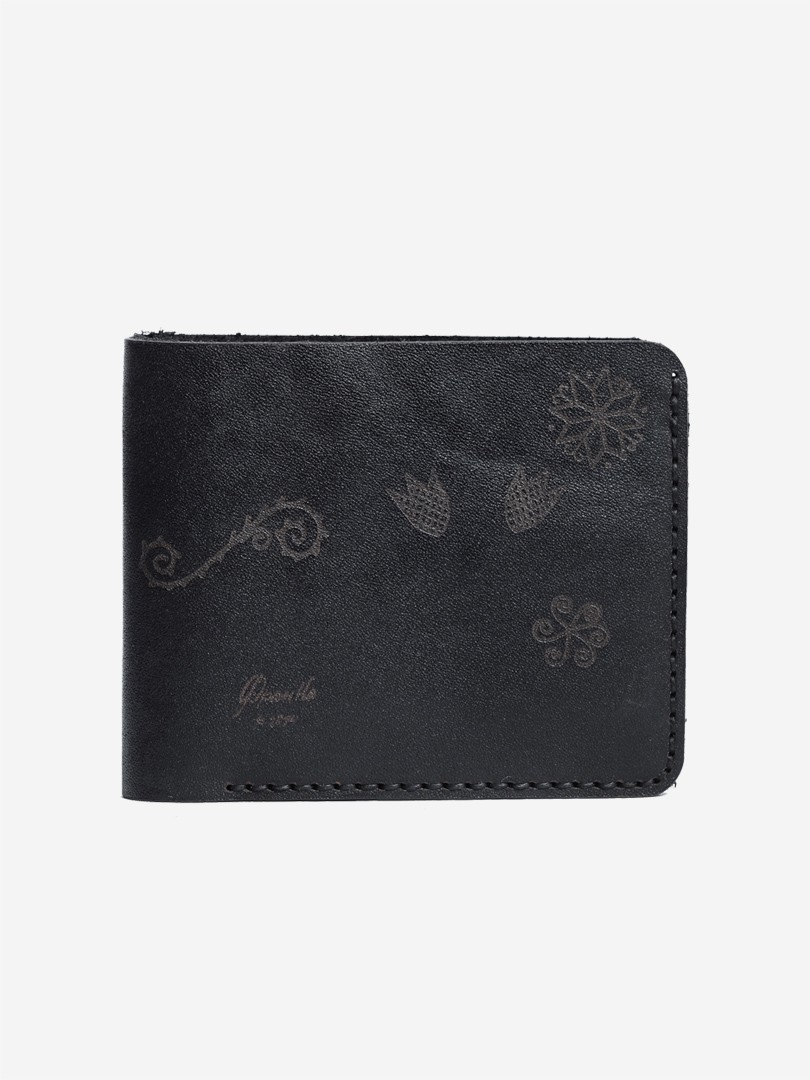 Trypillya black Small wallet in natural leather | franko.ua