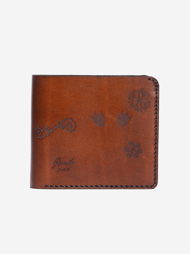 Trypillya brown Medium wallet in natural leather | franko.ua