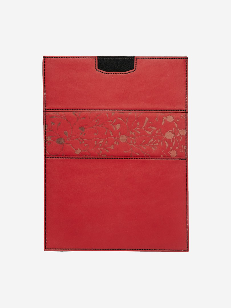 Flowers vertical red Case for MacBook Air in natural leather | franko.ua